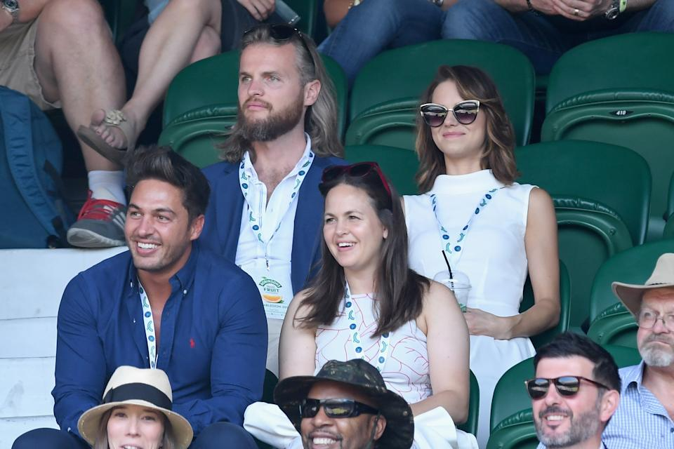 LONDON, ENGLAND - JULY 08:  (L-R) Mario Falcone, Giovanna Fletcher and Kara Tointon attend day six of the Wimbledon Tennis Championships at the All England Lawn Tennis and Croquet Club on July 8, 2017 in London, United Kingdom.  (Photo by Karwai Tang/WireImage)
