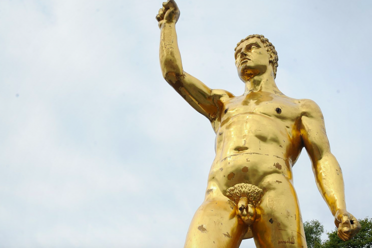 The naked statue has caused quite a stir in Wigan (SWNS)