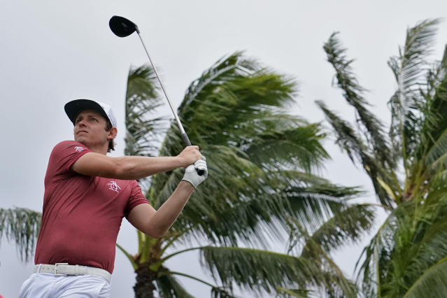 Cameron Smith hits from the 14th tee during the final round of the Sony Open PGA Tour golf event, Sunday, Jan. 12, 2020, at Waialae Country Club in Honolulu. (AP Photo/Matt York)