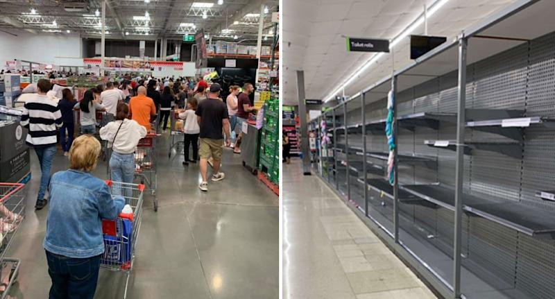 A crowd of Adelaide Costco shoppers are seen queuing up (left) and an empty toilet paper aisle at a New Zealand supermarket (right).