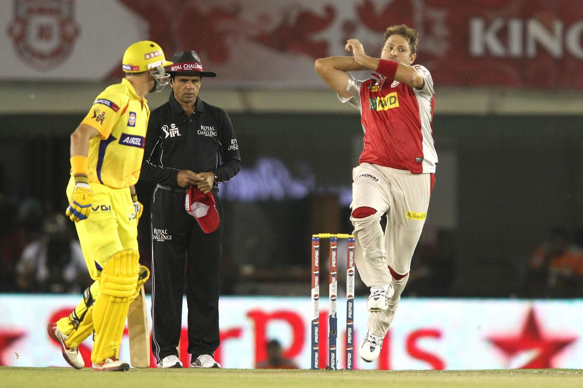 Ryan Harris of Kings XI Punjab sends down delivery during match 11 of of the Pepsi Indian Premier League between The Kings XI Punjab and the Chennai Superkings held at the PCA Stadium, Mohal, India  on the 10th April 2013..Photo by Shaun Roy-IPL-SPORTZPICS  ..Use of this image is subject to the terms and conditions as outlined by the BCCI. These terms can be found by following this link:..https://ec.yimg.com/ec?url=http%3a%2f%2fwww.sportzpics.co.za%2fimage%2fI0000SoRagM2cIEc&t=1506391775&sig=rU_NK37rLh8vLko7lfcU_w--~D