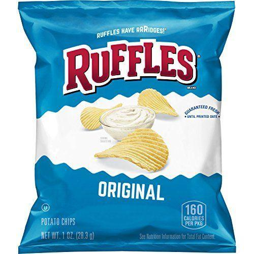 """<p><strong>Ruffles</strong></p><p>amazon.com</p><p><strong>$11.18</strong></p><p><a href=""""https://www.amazon.com/dp/B074N8ZYLX?tag=syn-yahoo-20&ascsubtag=%5Bartid%7C2089.g.35651204%5Bsrc%7Cyahoo-us"""" rel=""""nofollow noopener"""" target=""""_blank"""" data-ylk=""""slk:Shop Now"""" class=""""link rapid-noclick-resp"""">Shop Now</a></p><p>Ruffles have ridges, but they don't have any animal-derived ingredients! They're made with just potatoes, vegetable oil, and salt! The barbecue flavor is also vegan, if you're in the mood for a little more excitement.</p><p><em>Per 12 chips: 160 cals, 10 g fat (1.5 g sat), 150 mg sodium, 15 g carbs, 1 g fiber, < 1 g sugar, 2 g protein. </em></p>"""