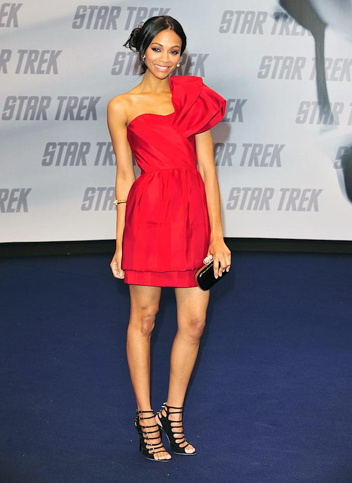 "Zoe Saldana stole the spotlight at the Berlin screening of ""Star Trek"" in a stunning asymmetrical Prabal Gurung tiered mini, yellow-gold Bulgari jewels, loose updo, and black strappy heels. <a href=""http://www.infdaily.com"" target=""new"">INFDaily.com</a> - April 16, 2009"