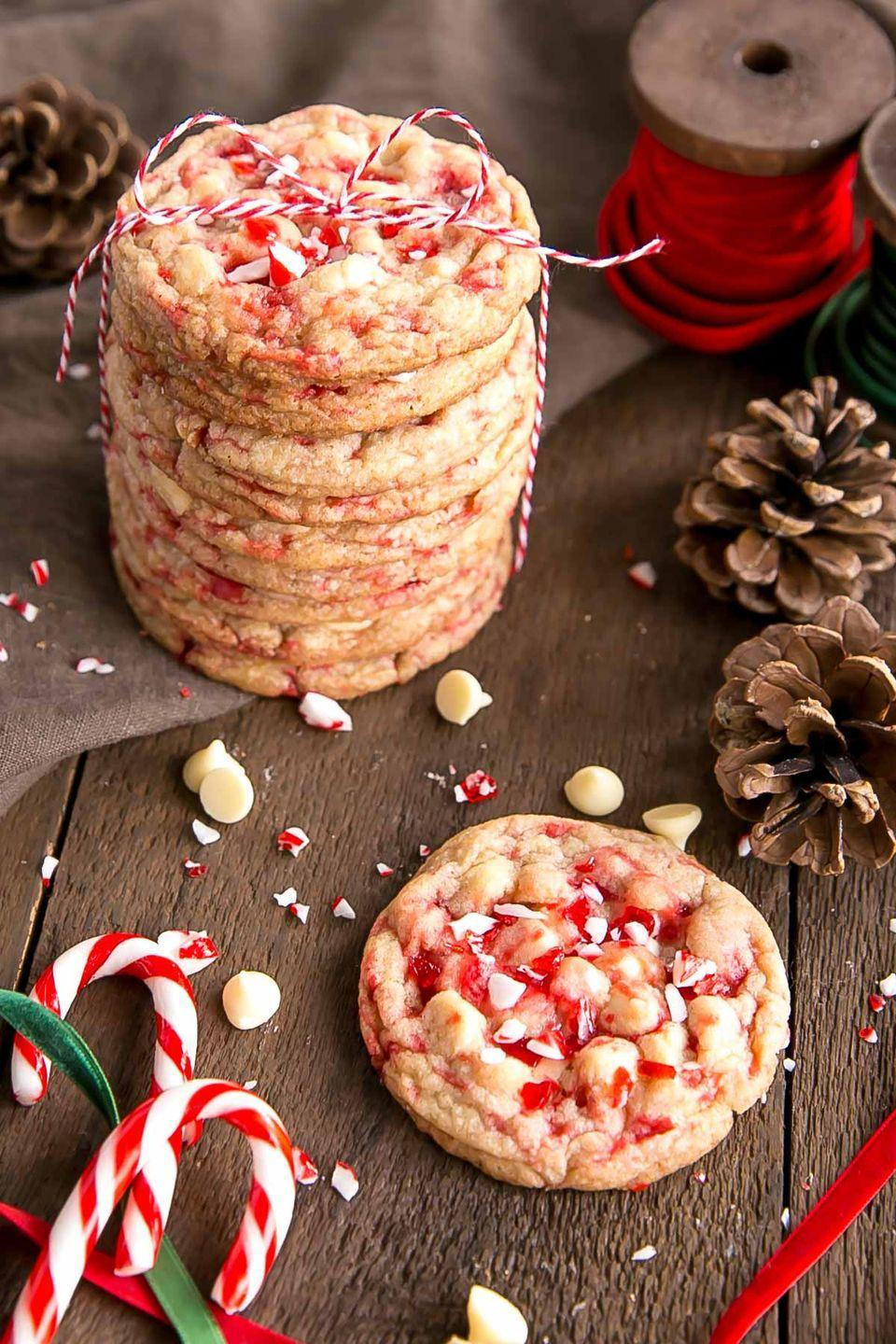 "<p>White chocolate adds just the right amount of sweetness to this no-chill dough.</p><p><strong>Get the recipe at <a href=""https://livforcake.com/white-chocolate-candy-cane-cookies/"" rel=""nofollow noopener"" target=""_blank"" data-ylk=""slk:Liv for Cake"" class=""link rapid-noclick-resp"">Liv for Cake</a>.</strong></p>"