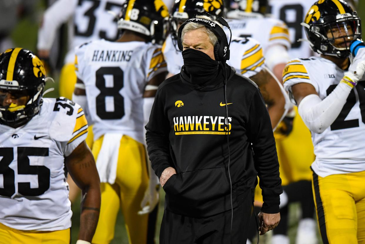 Iowa coach Kirk Ferentz looks on during a college football game between Iowa and Illinois on Dec. 5, 2020. (James Black/Icon Sportswire via Getty Images)