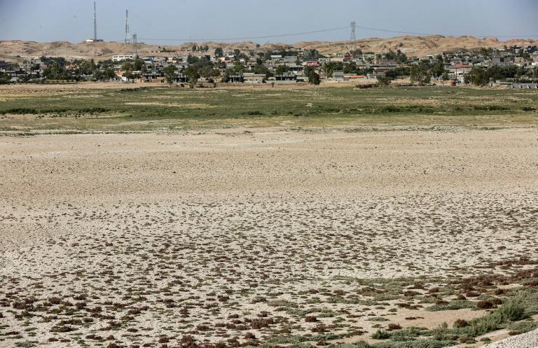 The dried up bed of a part of Lake Hamrin in the Hamrin region, north of Diyala in eastern Iraq