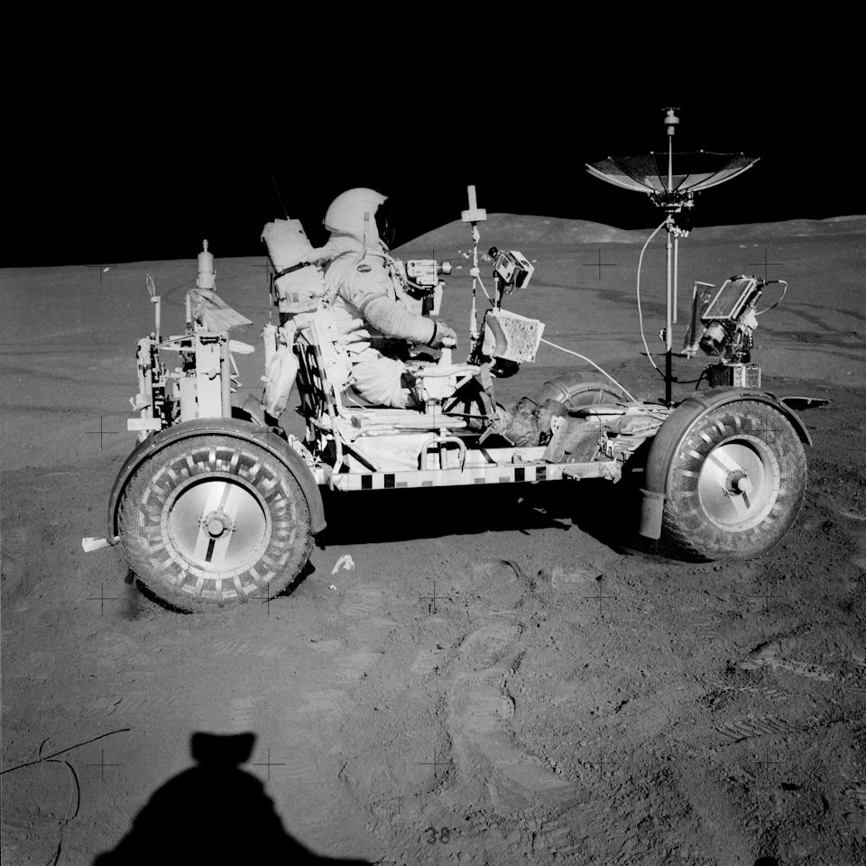 Scott on the LRV, which was the first car on the moon.