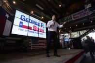 Texas Land Commissioner George P. Bush speaks at a kick-off rally where he announced he will run for Texas Attorney General, Wednesday, June 2, 2021, in Austin, Texas. (AP Photo/Eric Gay)