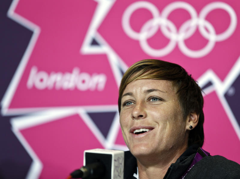 United States' Abby Wambach speaks during a women's soccer news conference for the 2012 Summer Olympics, Sunday, Aug. 5, 2012, at Old Trafford in Manchester, England. (AP Photo/Ben Curtis)