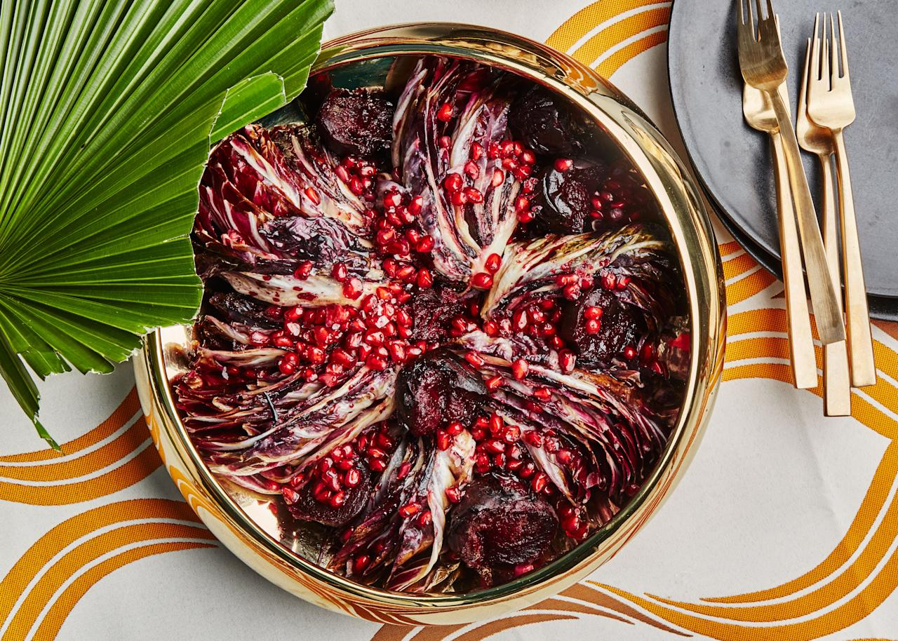 "Roasting beets over high heat yields charred skin—a nice balance with the sweet flesh. This is a part of Angela Dimayuga's Filipino-American Christmas menu. You can find <a href=""https://www.bonappetit.com/occasion/angela-dimayuga-christmas?mbid=synd_yahoo_rss"">all of the recipes here.</a> <a href=""https://www.bonappetit.com/recipe/seared-radicchio-and-roasted-beets?mbid=synd_yahoo_rss"">See recipe.</a>"