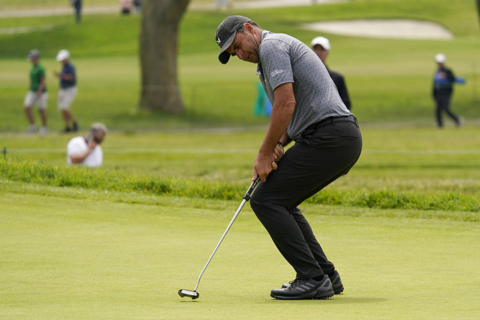 Richard Bland, of England, reacts to missing his putt on the sixth green during the second round of the U.S. Open Golf Championship, Friday, June 18, 2021, at Torrey Pines Golf Course in San Diego. (AP Photo/Gregory Bull)