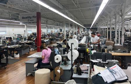 The sewing lines at Bernhard Furniture Company which where skilled craft jobs are growing without the help of tariffs, and company officials say they are pressed to fill open positions is shown in Lenoir, North Carolina, U.S., August 15, 2018.     REUTERS/Howard Schneider