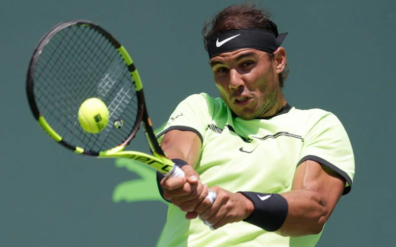 Rafael Nadal in action against Fabio Fognini on Friday night - AP