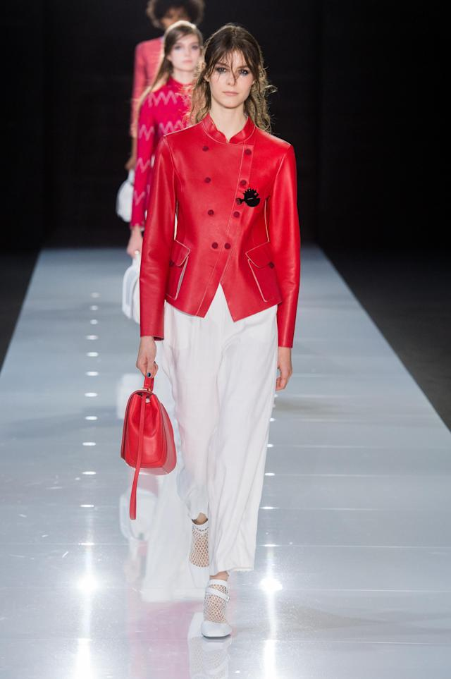<p><i>A model wears a crimson-red, double-breasted blazer. (Photo: ImaxTree) </i></p>