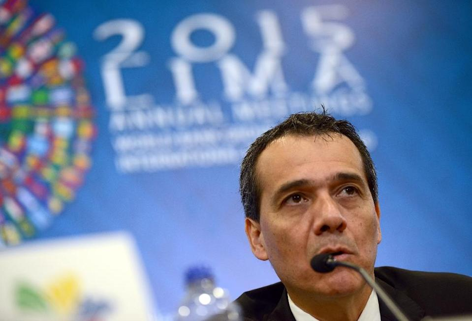Speaking on the sidelines of the IMF meetings, Peruvian Finance Minister Alonso Segura said his country would oppose any legal action outside its territory (AFP Photo/Cris Bouroncle)