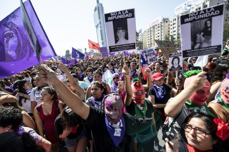 Women demonstrate during a march on International Women's Day in Santiago, Chile