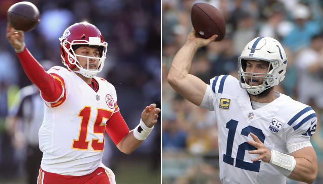 FILE - At left, in a Dec. 2, 2018, file photo, Kansas City Chiefs quarterback Patrick Mahomes (15) passes against the Oakland Raiders during an NFL football game in Oakland, Calif. At right , also in a Dec. 2, 2018, file photo, Indianapolis Colts quarterback Andrew Luck (12) throws a pass against the Jacksonville Jaguars during the first half of an NFL football game in Jacksonville, Fla. The Colts play the Chiefs in a divisional playoff game on Saturday, Jan. 12, 2019. (AP Photo/File)