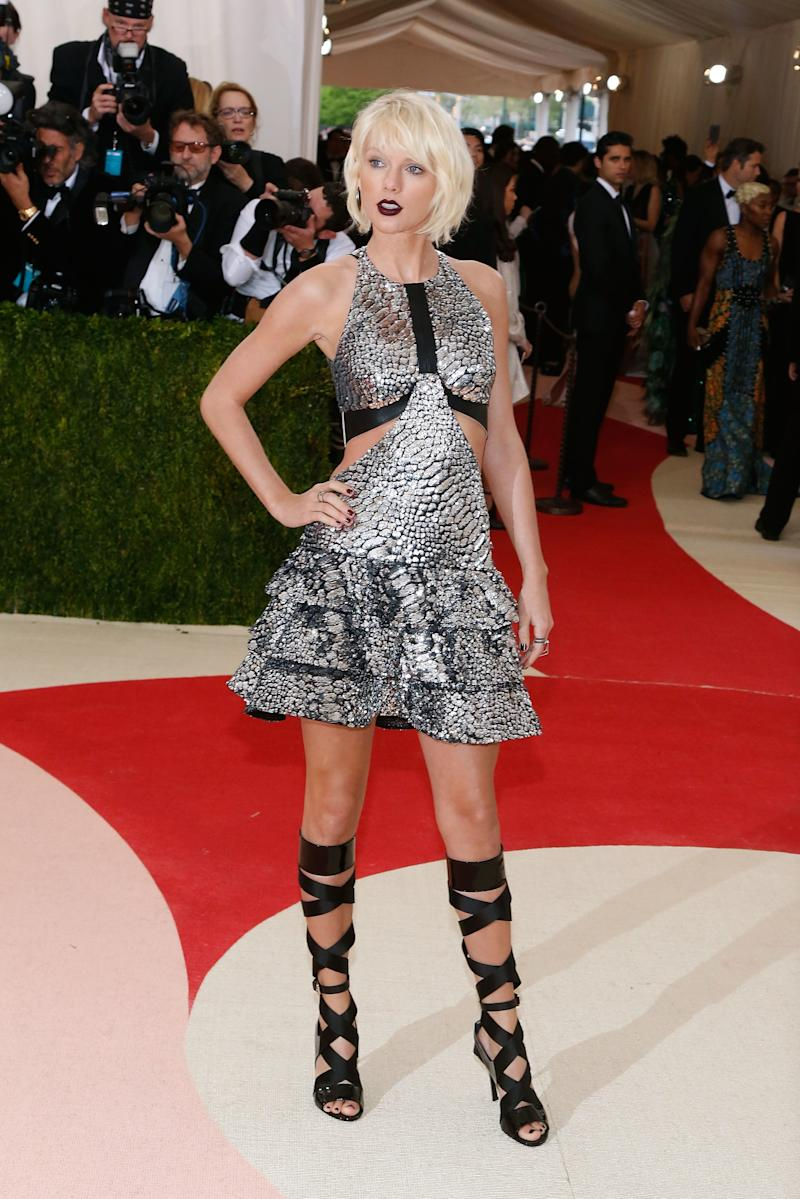 Taylor Swift in Louis Vuitton attends the 2016 Costume Institute Gala at the Metropolitan Museum of Art on May 02, 2016 in New York, New York.