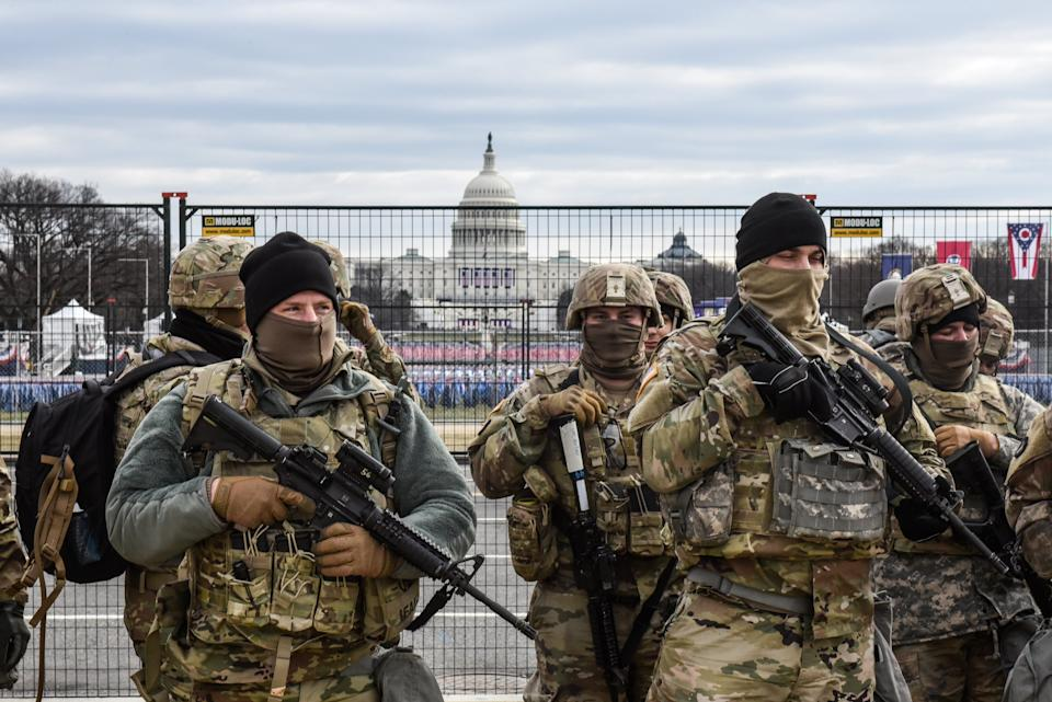 Heavily armed members of the National Guard are keeping watch over the US presidential inauguration this week. (Getty Images)