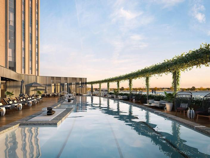 The rooftop pool at the Four Seasons New Orleans, opening this year.