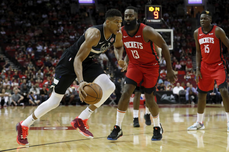 Giannis Antetokounmpo spoiled the debut of the James Harden-Russell Westbrook tandem with a monster triple-double. (Tim Warner/Getty Images)