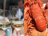 Composite of wine and lobsters