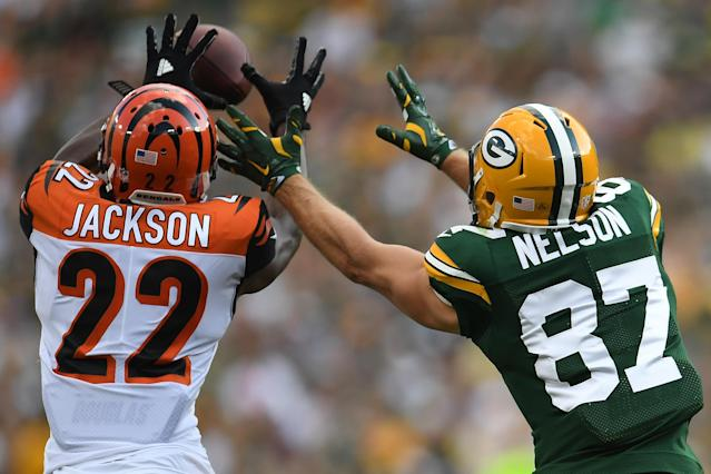 <p>William Jackson #22 of the Cincinnati Bengals intercepts a pass from Aaron Rodgers #12 (not pictured) to Jordy Nelson #87 of the Green Bay Packers at Lambeau Field on September 24, 2017 in Green Bay, Wisconsin. Jackson returned the interception for a 75-yard touchdown. (Photo by Stacy Revere/Getty Images) </p>