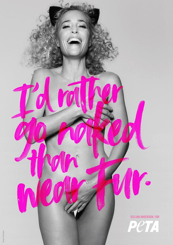 """The Emmy-award winner is the <a href=""""http://people.com/style/gillian-anderson-poses-nude-for-peta/"""">most recent celebrity to strip down in the name of PETA's anti-fur campaign</a>. Anderson wears nothing but a smile and cat ears to support the animal-rights organization's message: """"I'd rather go naked than wear fur."""" The ad is set to debut on a 70-foot billboard over Penn Station during New York Fashion Week."""