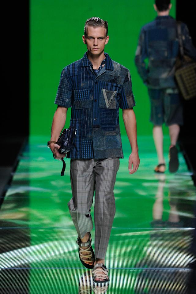 FWD211 Model walks the runway at the Louis Vuitton Men Spring 2013 show in Paris on Thursday, June 28, 2012. (Fashion Wire Daily/Gruber)