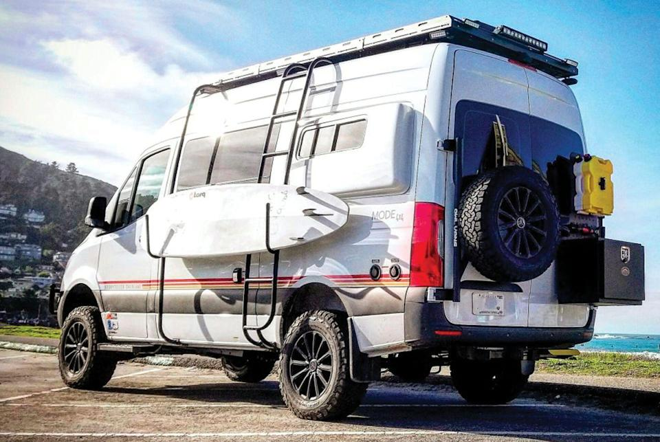 """<p>The Beast Mode adds an Agile Offroad performance suspension that includes Fox shocks and heavy-duty leaf springs, an Owl swing-away tire carrier on the rear, LED off-road lights and a front bumper light bar, and roof, rear door and side-mount cargo racks — the latter made specifically for a surfboard.</p><p><a class=""""link rapid-noclick-resp"""" href=""""https://www.gearpatrol.com/cars/a688817/storyteller-overland-off-road-camper-van-beast-mode/"""" rel=""""nofollow noopener"""" target=""""_blank"""" data-ylk=""""slk:LEARN MORE"""">LEARN MORE</a></p>"""