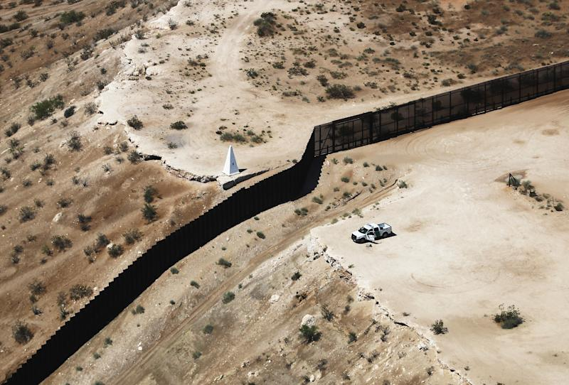 An aerial view of the U.S.-Mexico border