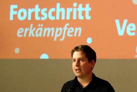 Kevin Kuehnert, head of the German Social DemocratsÕ (SPD) youth wing urges delegates to the partyÕs regional congress in the state of Saxony Anhalt not to back another four years of coalition with German Chancellor Angela Merkel during a meeting in Wernigerode, Germany, January 13, 2018. REUTERS/Thomas Escritt