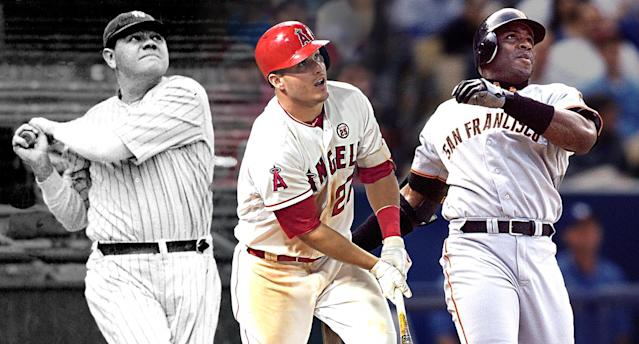 Los Angeles Angels outfielder Mike Trout is in the running for having the greatest season ever, passing Babe Ruth in 1923 and Barry Bonds in 2001. (Amber Matsumoto/Yahoo Sports)