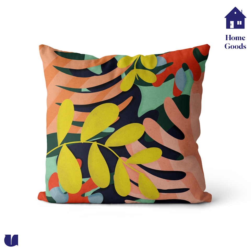 """<p><strong>Unwrp</strong></p><p>unwrp.com</p><p><strong>$31.50</strong></p><p><a href=""""https://unwrp.com/shop/p/blooming-throw-pillow"""" rel=""""nofollow noopener"""" target=""""_blank"""" data-ylk=""""slk:Shop Now"""" class=""""link rapid-noclick-resp"""">Shop Now</a></p><p>A lush, tropical print will elevate her home aesthetic in seconds. </p>"""