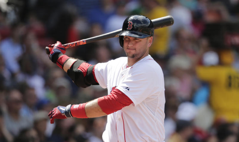 Boston Red Sox catcher A.J. Pierzynski (40) a baseball game at Fenway Park in Boston, Wednesday, June 18, 2014. (AP Photo/Charles Krupa)