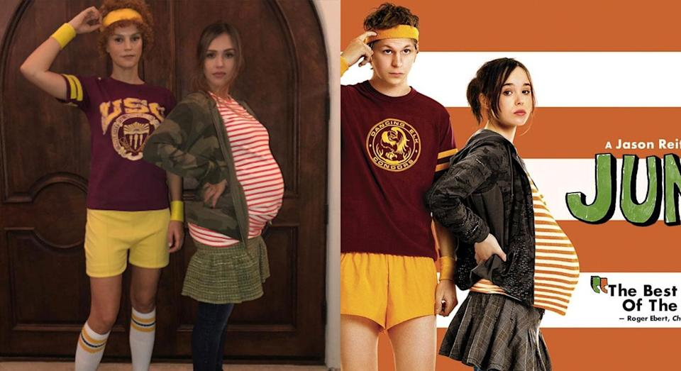 <p>A pregnant Jessica Alba and her friend Kelly Sawyer dressed as characters from the 2007 film 'Juno' for a Halloween party (Instagram/Fox Searchlight) </p>