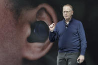 Dave Limp, senior vice president for Amazon devices & services, talks about Echo Buds, the tech company's new wireless earbuds product, Wednesday, Sept. 25, 2019, during an event in Seattle. (AP Photo/Ted S. Warren)