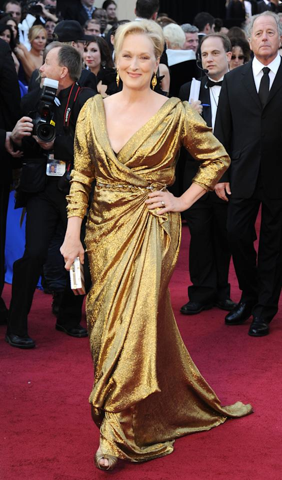Actress Meryl Streep arrives at the 84th Annual Academy Awards held at the Hollywood & Highland Center on February 26, 2012 in Hollywood, California.