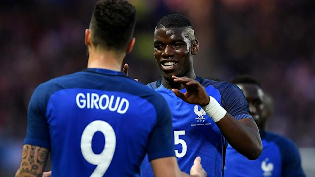 The Manchester United midfielder has added a blue streak while on international duty with France, but the Chelsea striker is not convinced by the look