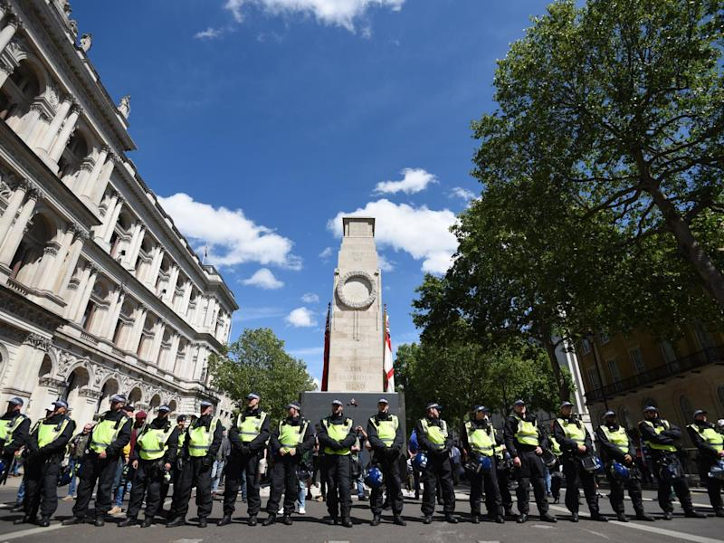 Protesters said their primary goal had been to protect statues - in particular a monument to Winston Churchill and the Cenotaph, pictured: Anadolu Agency/Getty