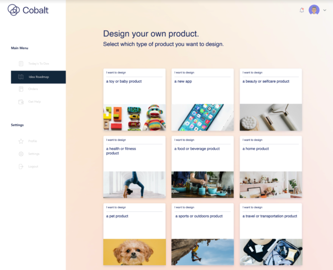 image of product types cobalt users can make, including toys, apps, self care and beauty, health and fitness, food or beverage, home, pet, sports, or travel products