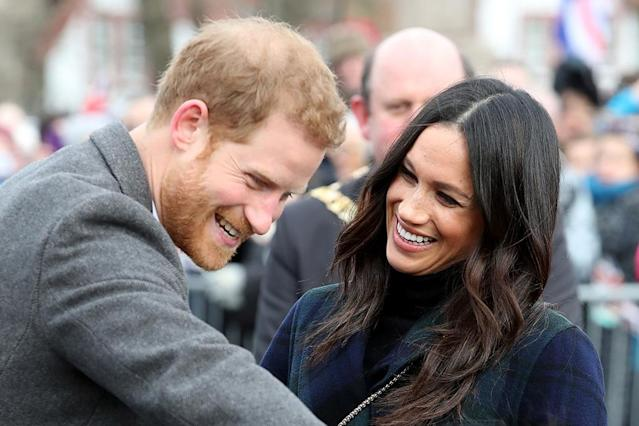 <p>If we all could just have someone look at us they way Meghan looks at Harry, the world would be a much better place! The beaming duo arrived at Edinburgh Castle in Scotland on Tuesday, looking more in love than ever. (Photo: Chris Jackson/Chris Jackson/Getty Images) </p>
