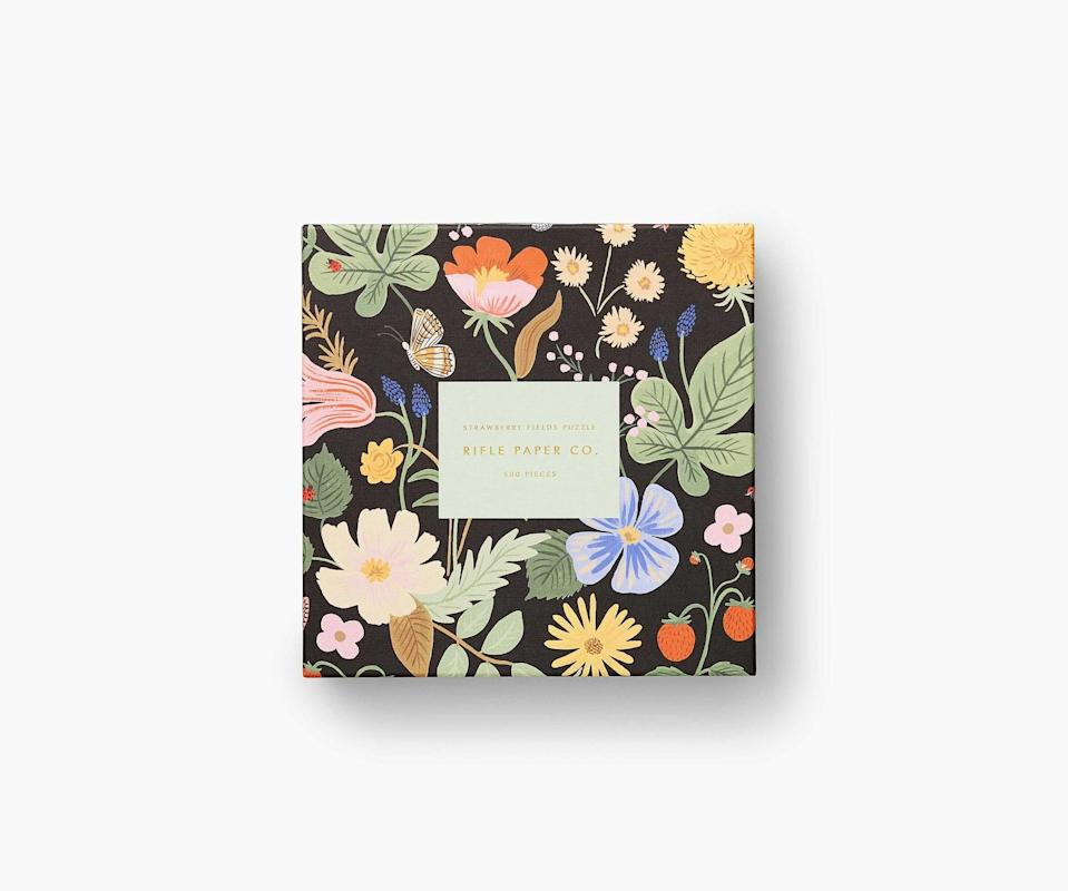 """<p>""""Rifle Paper Co. just came out with 500-piece puzzles that are pretty enough to leave on my coffee table once they're complete. The <span>Rifle Paper Co. Strawberry Fields</span> ($34) one is the perfect cozy indoor activity."""" - Macy Cate Williams, senior editor, Shop</p>"""