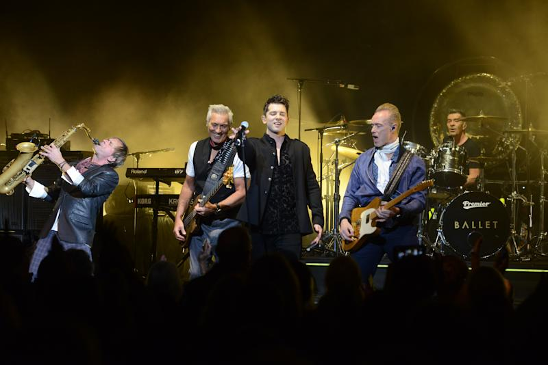 LONDON, ENGLAND - OCTOBER 29: (L-R) Steve Norman, Martin Kemp, Ross William Wild, Gary Kemp and John Keeble of Spandau Ballet perform on stage at Eventim Apollo on October 29, 2018 in London, England. (Photo by Dave J Hogan/Dave J Hogan/Getty Images)