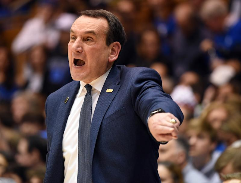 Jan 18, 2020; Durham, North Carolina, USA; Duke Blue Devils head coach Mike Krzyzewski directs his team during the second half against the Louisville Cardinals at Cameron Indoor Stadium. The Cardinals won 79-73. Mandatory Credit: Rob Kinnan-USA TODAY Sports