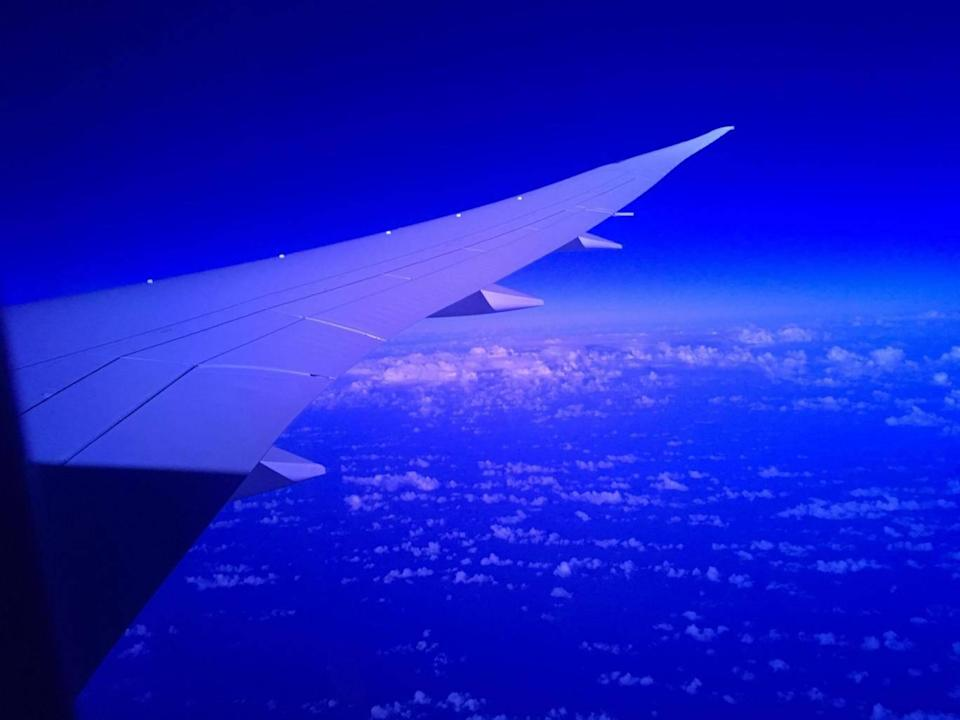 The first London-Perth nonstop flight at dawn over the Indian Ocean