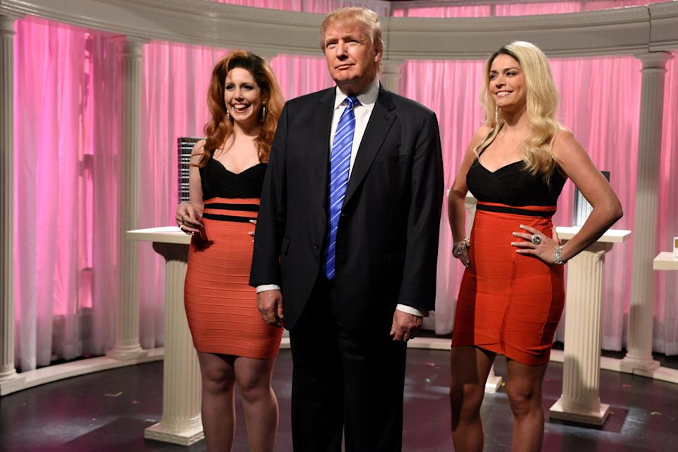 """Vanessa Bayer (left), Trump and Cecily Strong (right) during the """"Porn Stars"""" sketch during the Nov. 7, 2015 show, Trump's second time hosting. (Photo: Dana Edelson/NBCU Photo Bank/NBCUniversal via Getty Images)"""