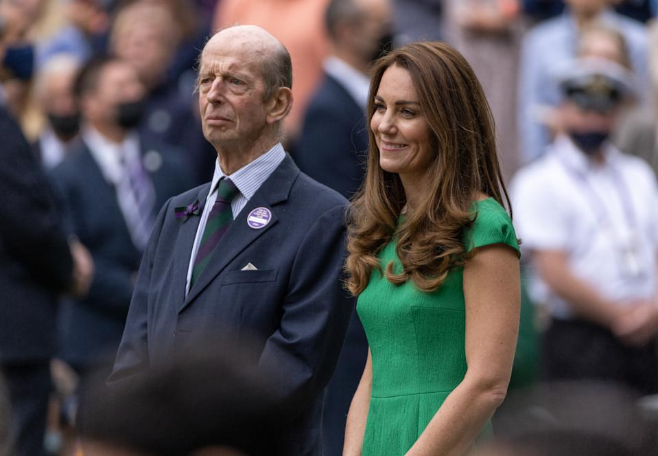 LONDON, ENGLAND - JULY 10: Prince Edward, Duke of Kent and HRH Catherine, The Duchess of Cambridge after the Ladies' Singles Final match between Ashleigh Barty of Australia and Karolina Pliskova of The Czech Republic  on Day Twelve of The Championships - Wimbledon 2021 at All England Lawn Tennis and Croquet Club on July 10, 2021 in London, England. (Photo by AELTC/Ian Walton - Pool/Getty Images)
