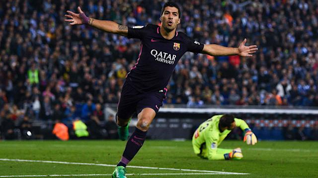 Barcelona moved to the top of LaLiga courtesy of a 3-0 win over city rivals Espanyol, with Luis Suarez and Ivan Rakitic on target.