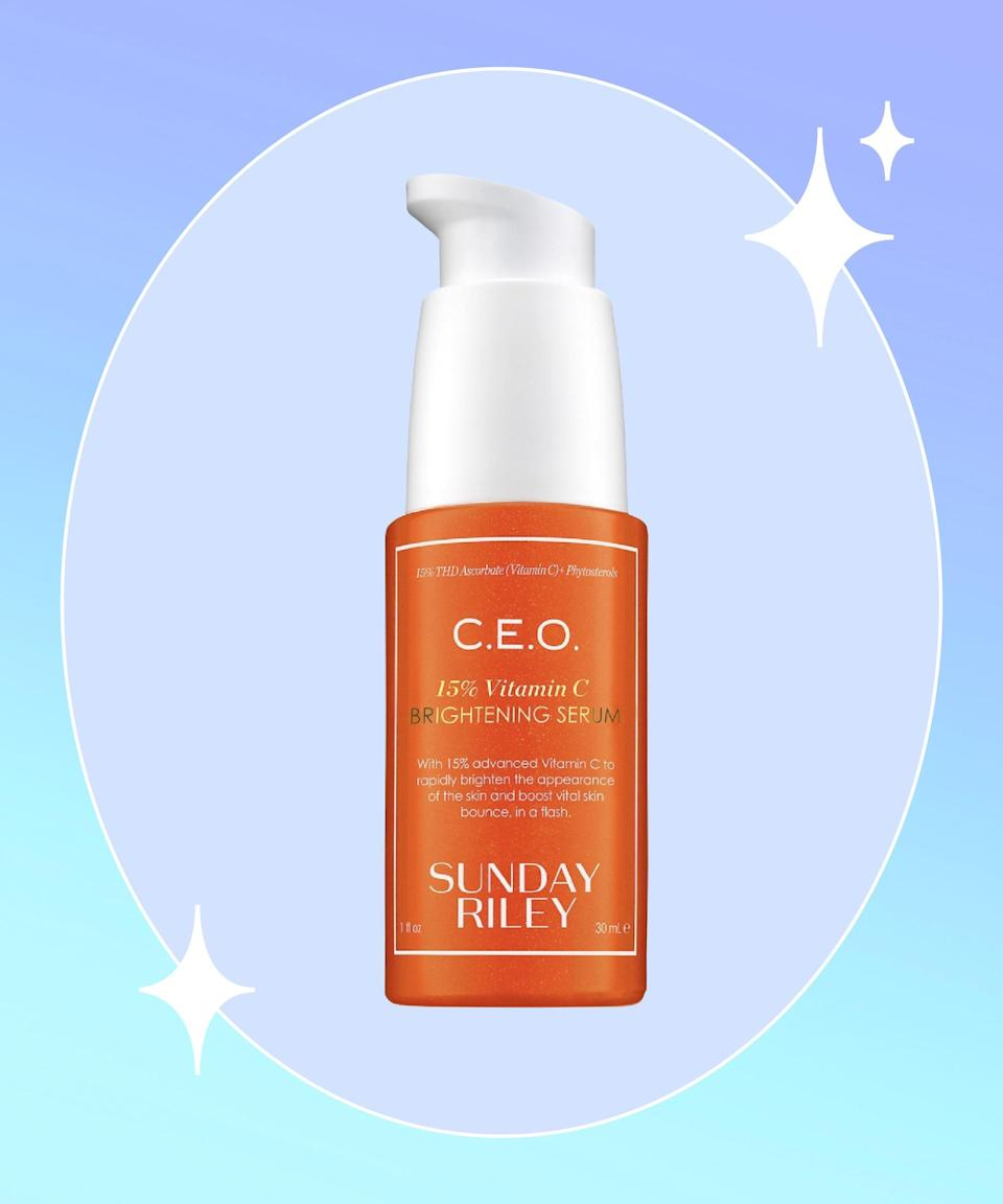 """<strong>Goal: </strong>Radiate a glowing complexion without the help of makeup<br><br><strong>Use: </strong>C.E.O. 15% Vitamin C Brightening Serum<br><br><strong>Why? </strong>Dullness (the result of uneven skin tone, hyperpigmentation, discoloration) is the only thing that would stand in the way between you and enviable glowy skin. Integrating vitamin C, like this skin-brightening formula that features 15% of L-ascorbic acid (vitamin C), is the surefire way to eliminate dullness. <br><br><strong>Sunday Riley</strong> C.E.O. 15% Vitamin C Brightening Serum, $, available at <a href=""""https://go.skimresources.com/?id=30283X879131&url=https%3A%2F%2Fwww.sephora.com%2Fproduct%2Fc-e-o-rapid-flash-brightening-serum-P418346%3Ficid2%3Dprod-ucts%2520grid%3Ap418346"""" rel=""""nofollow noopener"""" target=""""_blank"""" data-ylk=""""slk:Sephora"""" class=""""link rapid-noclick-resp"""">Sephora</a>"""